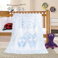 Pătură de copii Nela Bufniță, albastru, 100 x 140 cm
