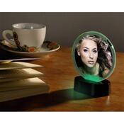Portrétový rámeček LED kruhový černá