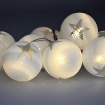 Solight Světelný LED řetěz s 10 vánočními koulemi, 1 m, teplá bílá