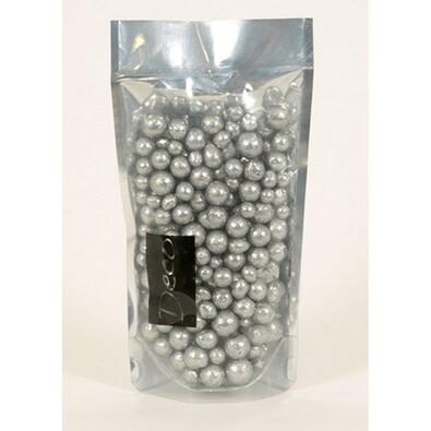 Dekorační perly 8-16 mm stříbrné s glitry