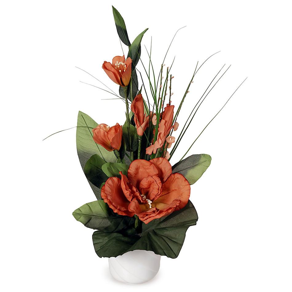 Aranžmá Ruže v kvetináči červená, 50 cm