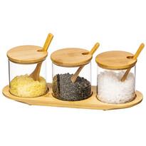 4Home Komplet szklanych pojemników z tacą i łyżec zkami Bamboo, 310 ml