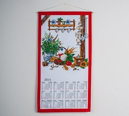 Textilní kalendář 2014 Zátiší, 35 x 65 cm, červená