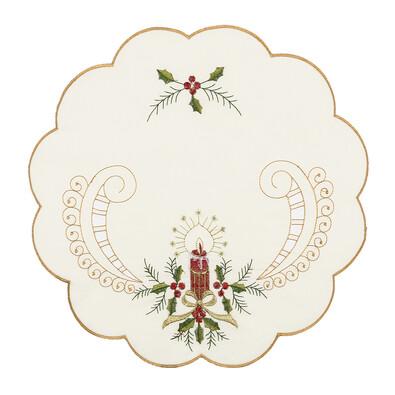 Vánoční prostírání Cesmína, 35 cm, sada 4 ks