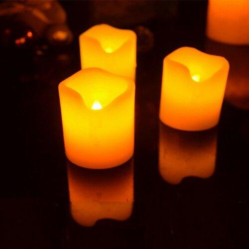 Elektrické svíčky z pravého vosku, sada 3 kusů