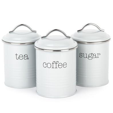 Sada dóz na kávu, čaj a cukr, šedá