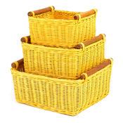Ratanový košík žlutá, 3 ks