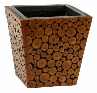 Obal s povrchem z dřevěných špalíčků, medová