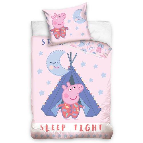 Lenjerie de pat din bumbac pentru pătuț Purcelușa Peppa, 100 x 135 cm, 40 x 60 cm