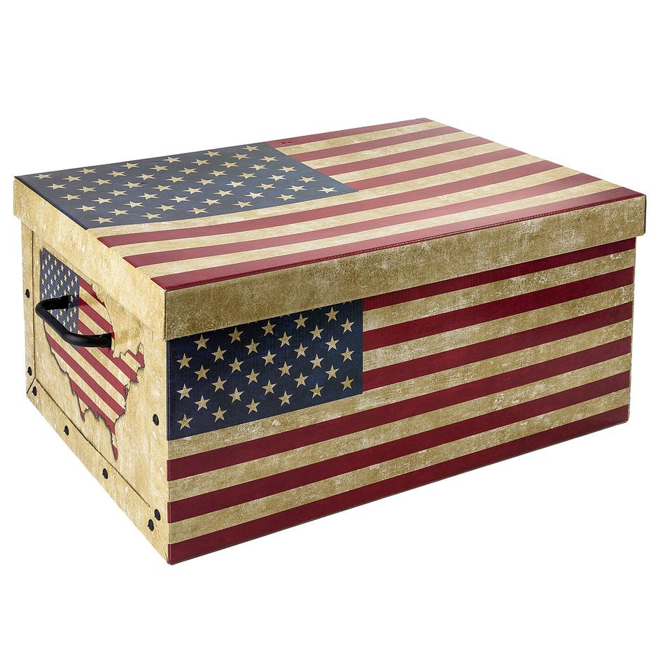 EXCELLENT Úložný box dekorativní vlajka USA & UK KO-M31100080