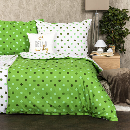 4Home Pościel bawełniana Kropki zielony, 140 x 220 cm, 70 x 90 cm