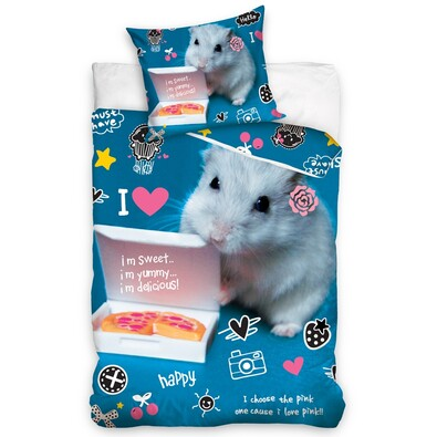 Lenjerie de pat, din bumbac, Hamster albastru, 140 x 200 cm, 70 x 90 cm