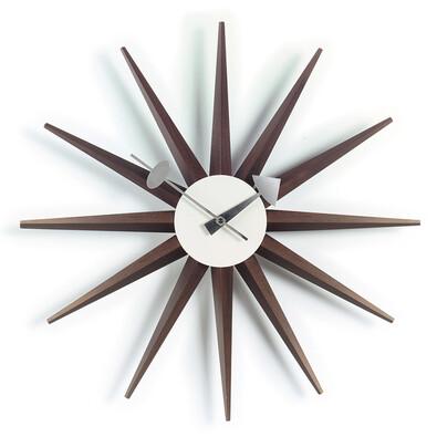 Nástěnné hodiny Sunburst Clock 47 cm, ořech