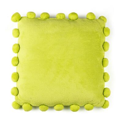 Polštářek Pompon zelená, 45 x 45 cm