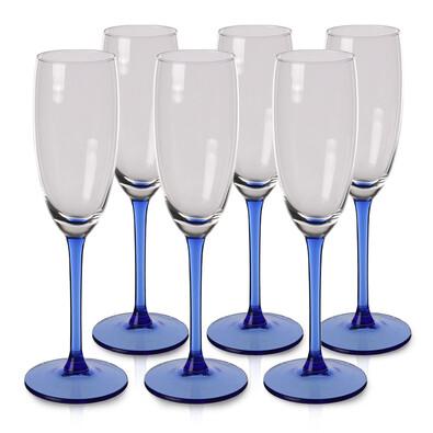 6-dielna sada pohárov na sekt Blue, 180 ml