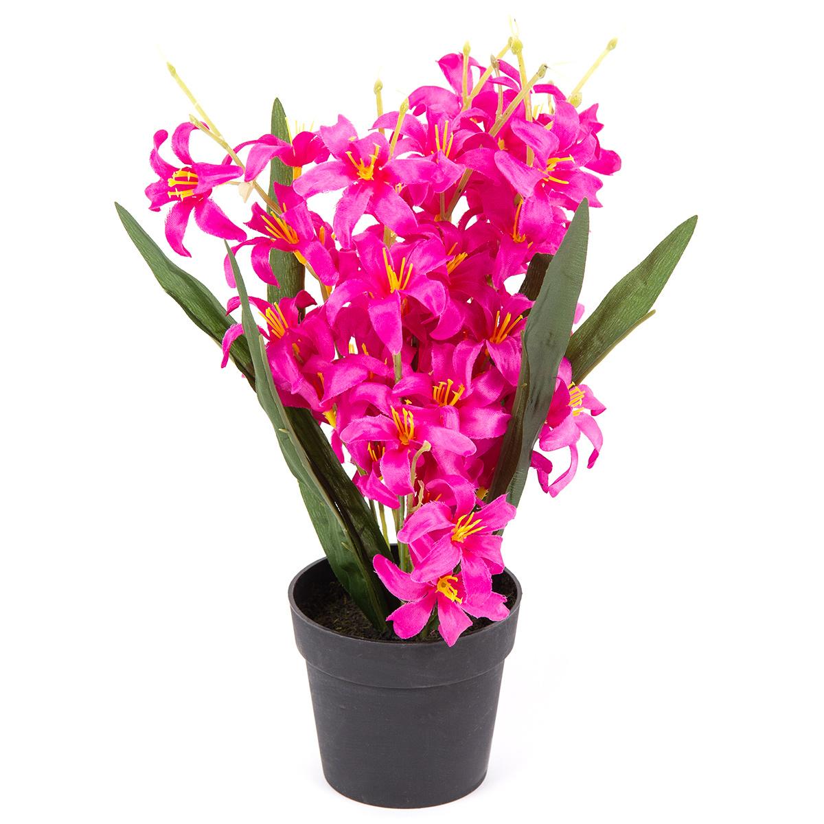 Umělá květina Lilie drobnokvětá v květináči růžová, 30 cm