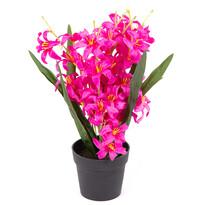 Liliom művirág, apró virágú, virágtartóban, rózsaszín, 30 cm