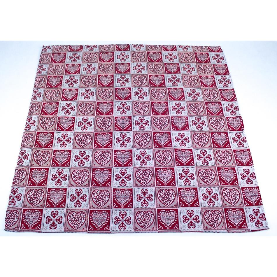 BO-MA Trading Vánoční ubrus Srdce, 100 x 100 cm