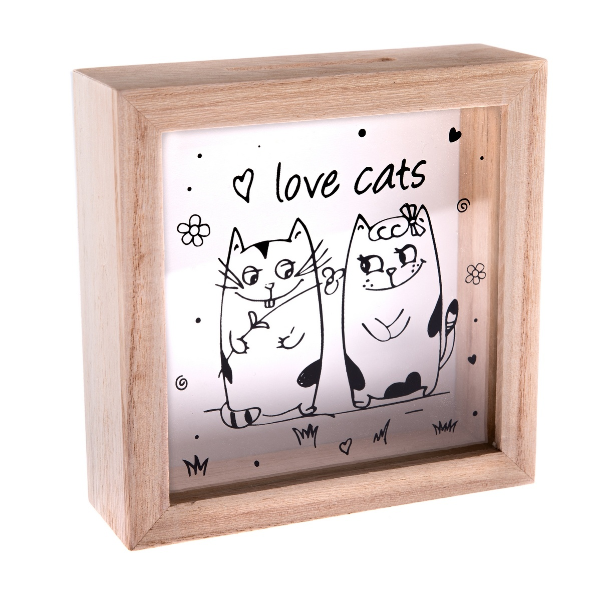 Drevená pokladnička Love Cats, 15x 15 x 5 cm,