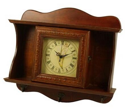 Závěsná skříňka na klíče s hodinami, hnědá, 40 x 45 x 12 cm