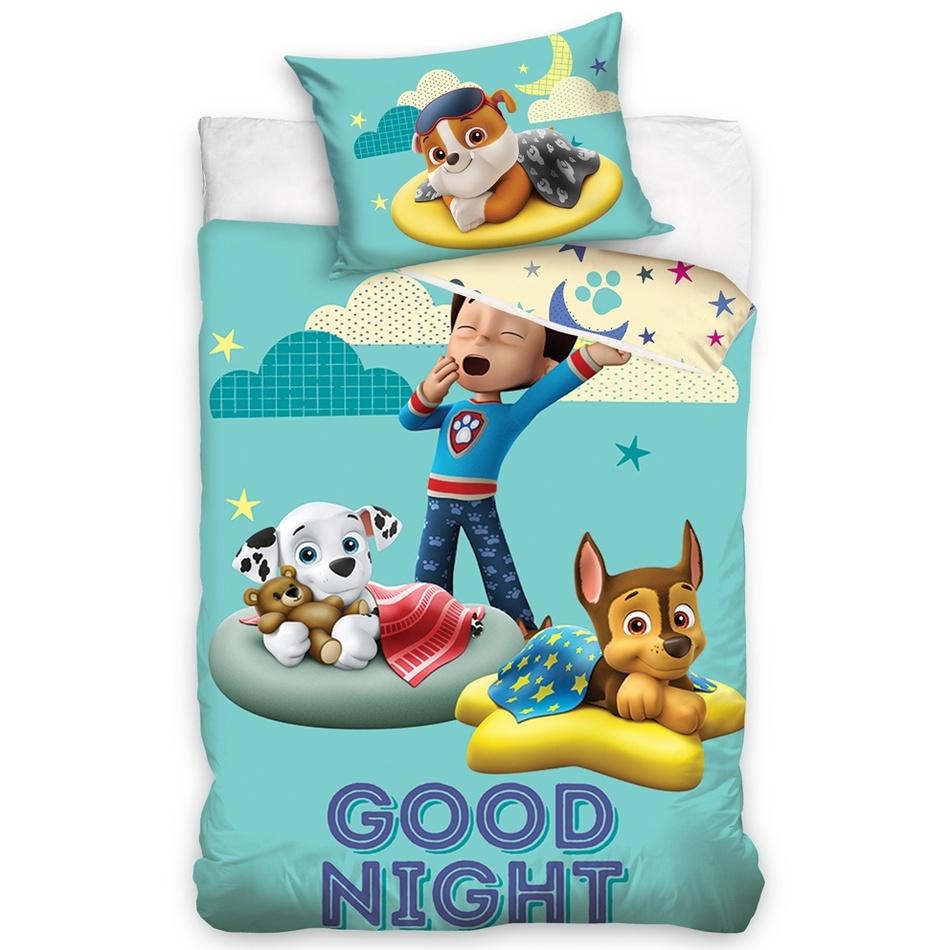 TipTrade Detské bavlnené obliečky do postieľky Tlapková Patrola Good Night, 100 x 135 cm, 40 x 60 cm