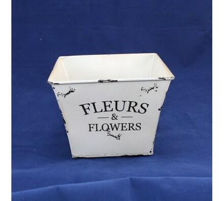 Plechový květináč hranatý, bílá + černá, 16,5 x 13,5 x 23 cm