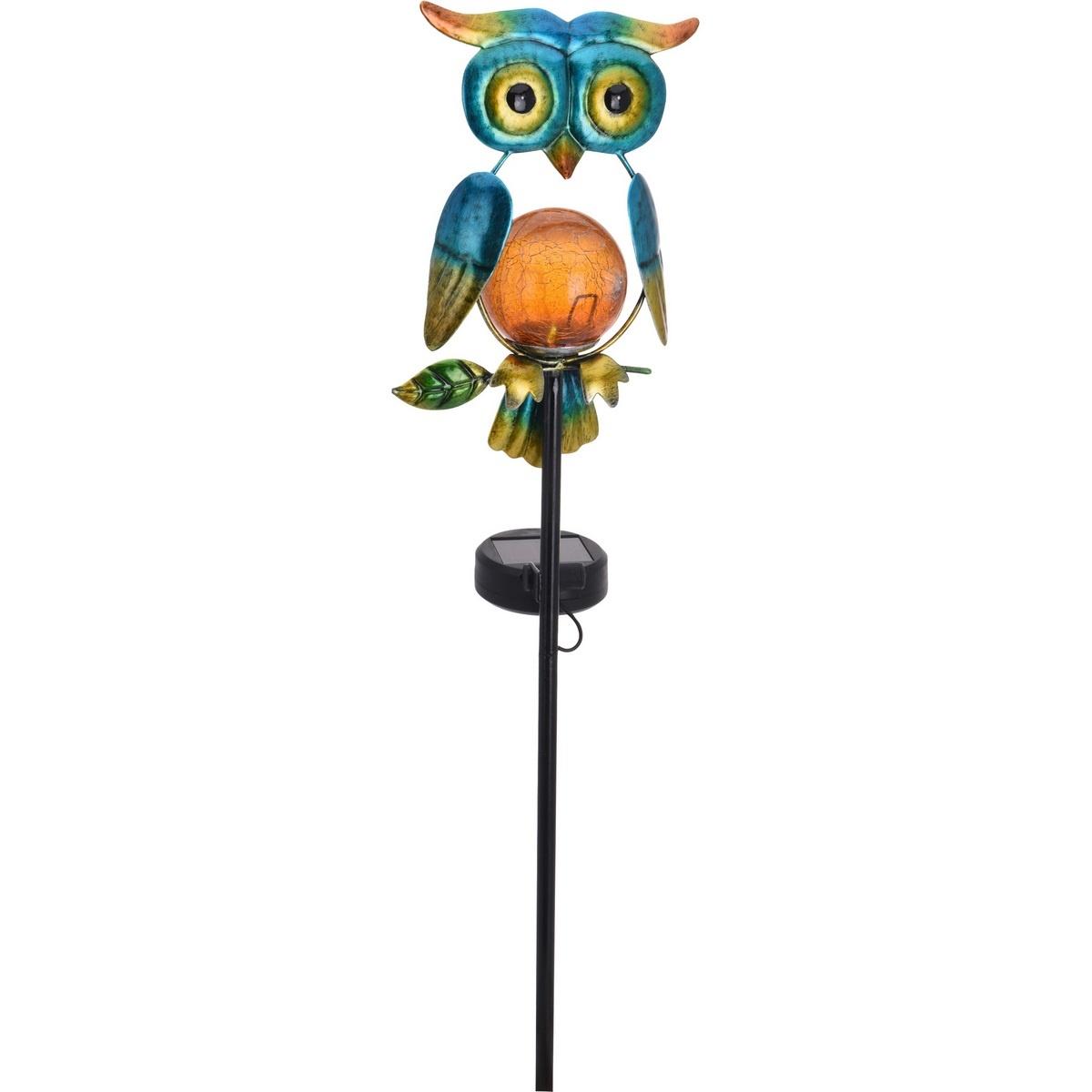 Solární lampa Owl modrá, 12 x 6 x 54 cm