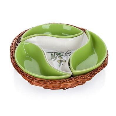 Banquet 4dílná servírovací mísa v košíku Olives