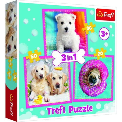 Trefl puzzle, kiskutyák, 3 db