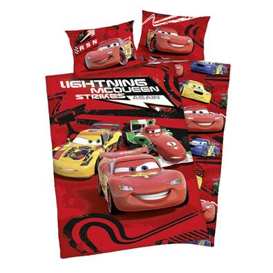 Dětské bavlněné povlečení do postýlky Cars McQueen strikes, 100 x 135 cm, 40 x 60 cm