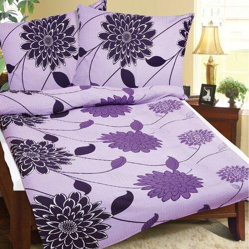 Krepové povlečení Fialový květ, 140 x 220 cm, 70 x 90 cm