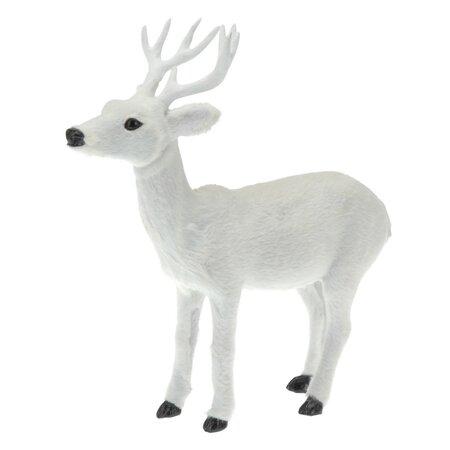 Dekoracja plastikowa z imitacją sierści Biały jeleń, 26,5 cm