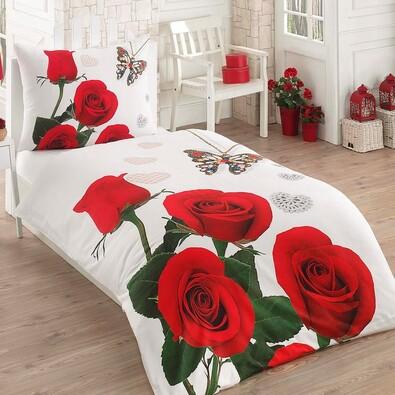 Exclusive Red Roses 3D pamut ágynemű garnitúra, 140 x 200 cm, 70 x 90 cm
