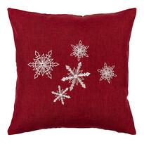 Vianočná obliečka na vankúšik Vločky červená, 40 x 40 cm
