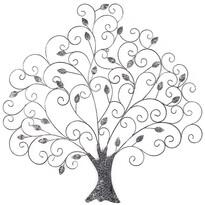 Dekoracja metalowa na ścianę Drzewo z liśćmi, 82 cm