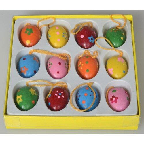 Sada dřevěných velikonočních vajíček, 12 ks