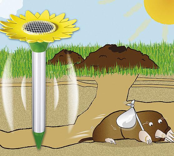 Solárny odpuzovač krtkov