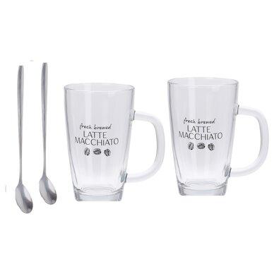 Set căni sticlă cu linguriță pentru Latté Macchiato, 320 ml