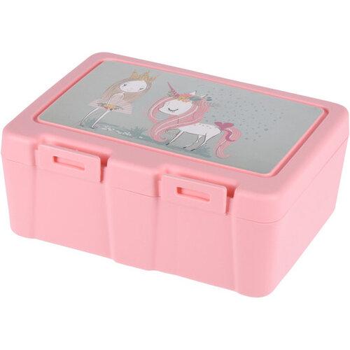 Lunch box s príborom, 13,5 x 18 x 7,5 cm, ružová