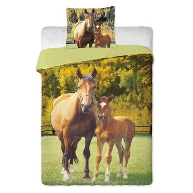 Bavlněné povlečení Koně zelená, 140 x 200 cm, 70 x 90 cm