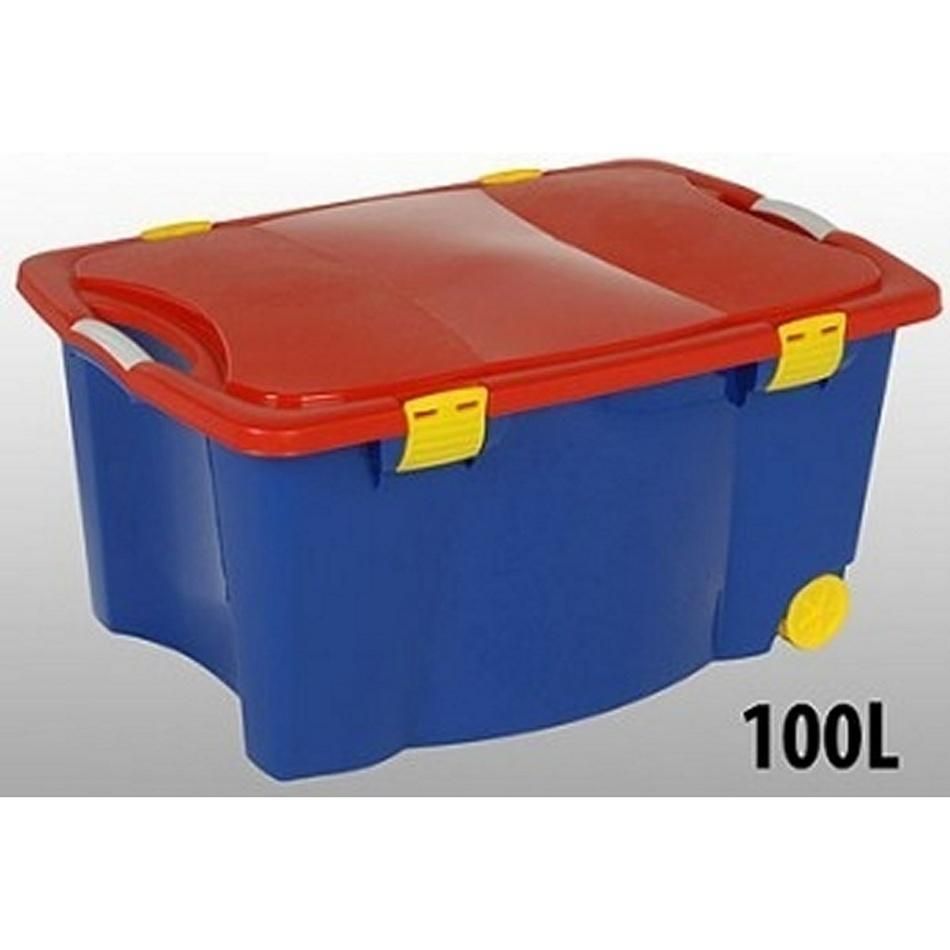 Pojízdný plastový úložný box 100 L 45 x 55 x 80 cm, KO-904660