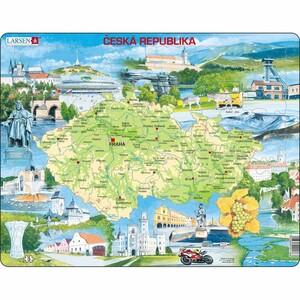 Larsen Puzzle Mapa atraktivních míst Česka, 78 dílků