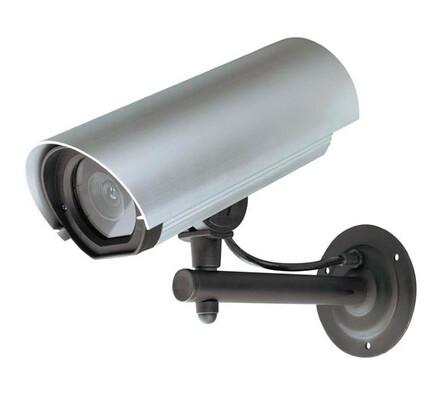 Atrapa kamery, hliníkové pouzdro s LED, stříbrná
