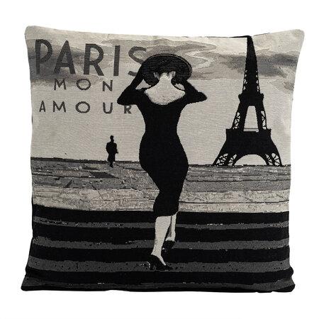 Obliečka na vankúšik Gobelín žena v Paríži, 45 x 45 cm