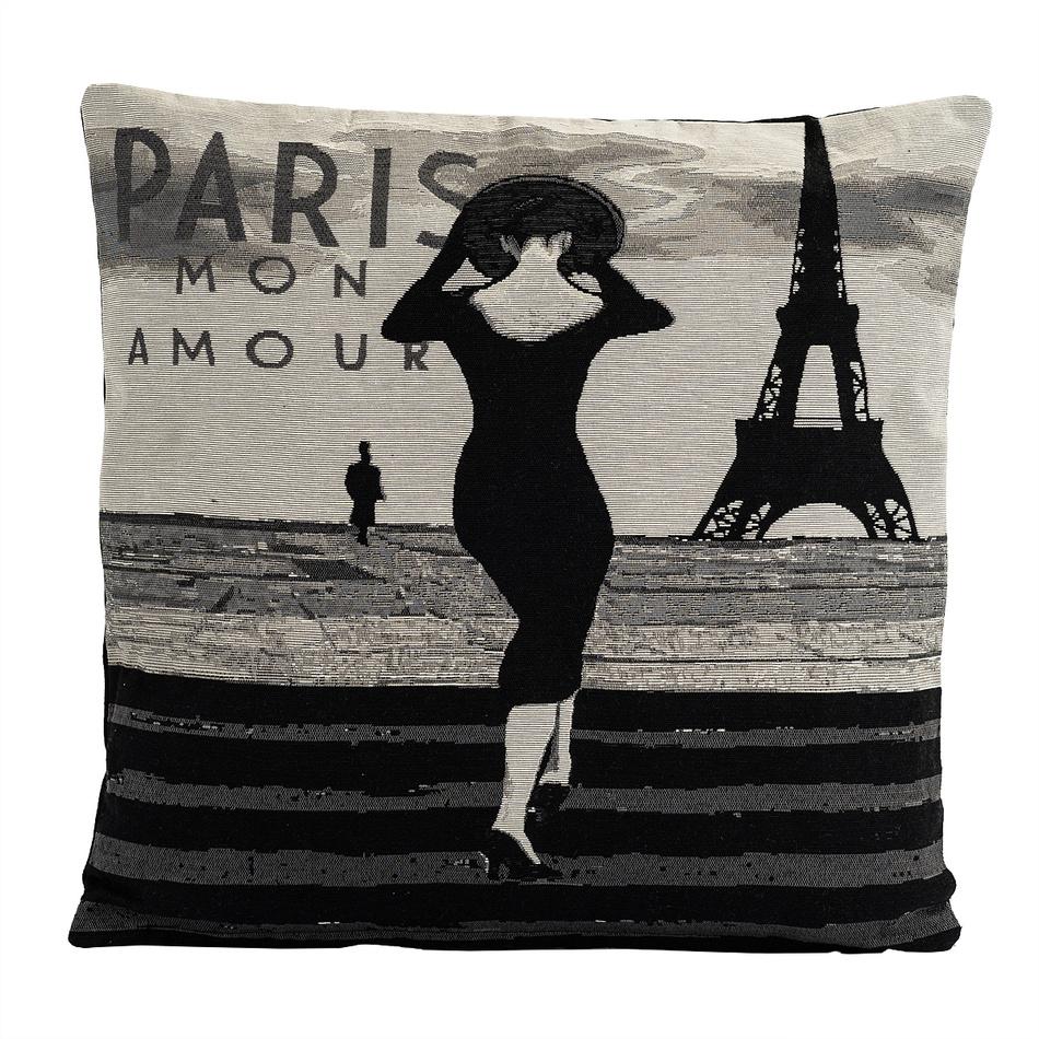 BO-MA Trading Obliečka na vankúšik Gobelín žena v Paríži, 45 x 45 cm