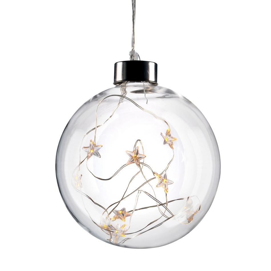 1V204 Solight LED vánoční koule skleněná, 10LED, 2x AA, IP20