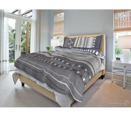 Bavlněné povlečení Kamil šedý, 140 x 200 cm, 70 x 90 cm