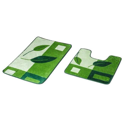Euromat Sada kúpeľňových predložiek Madera Valeso zelená, 45 x 70 cm + 45 x 45 cm