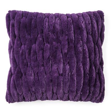 Povlak na polštářek chlupatý prošívaný fialová, 45 x 45 cm