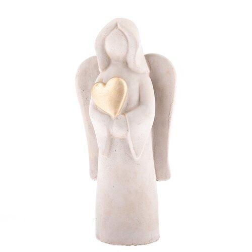Betonový anděl se srdcem, 19,5 cm